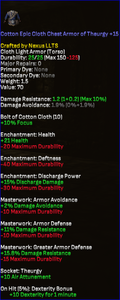Cotton Epic Cloth Chest Armor of Theurgy +15