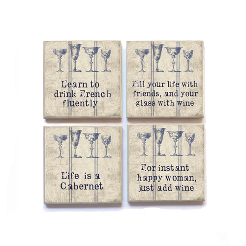 Coasters English WINE French Inspired