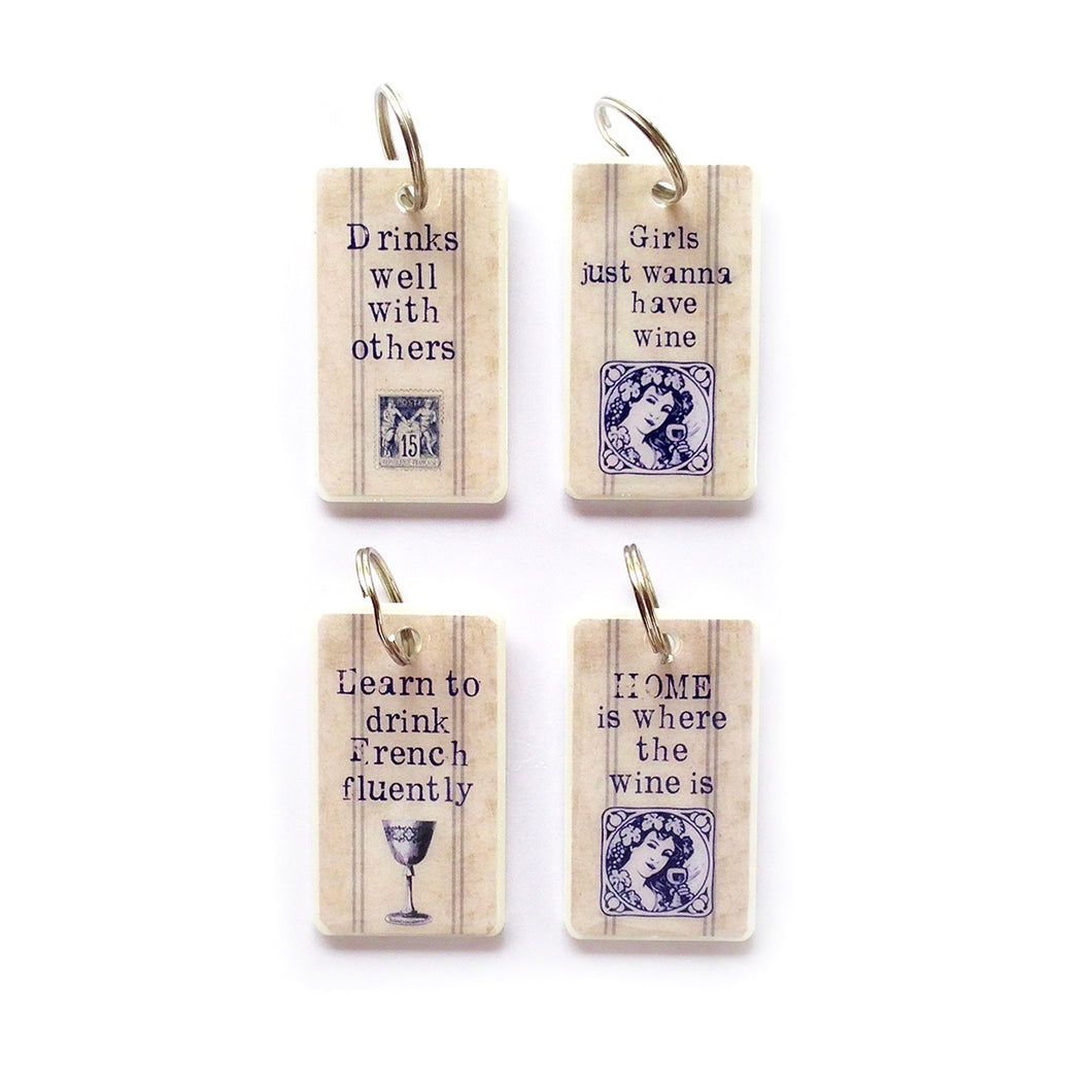 Keyrings English WINE French Inspired