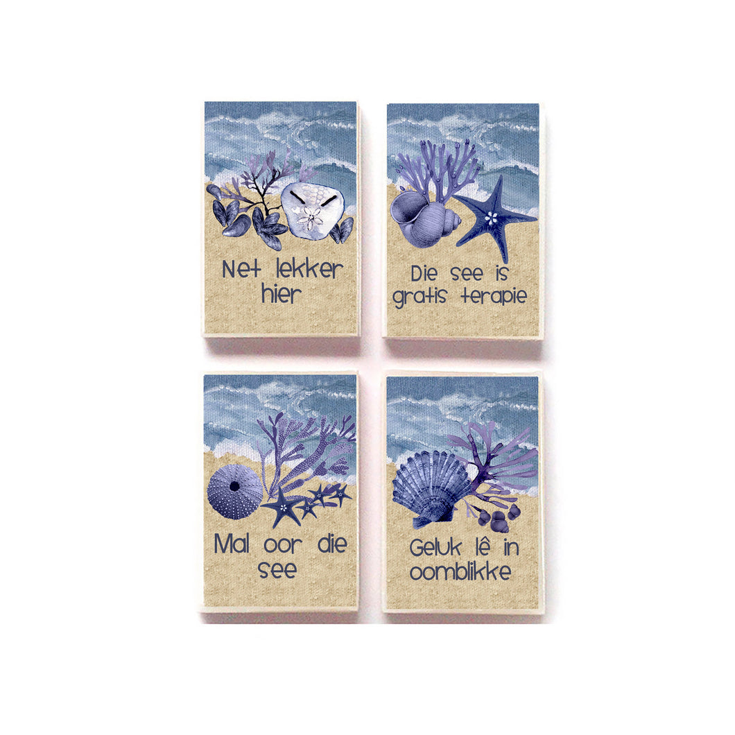 Fridge Magnets Afrikaans SAND AND BLUE SHELLS Seaside