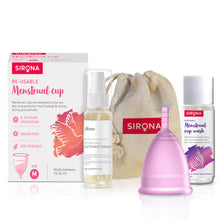 Load image into Gallery viewer, Sirona Pro Reusable Menstrual Cup with Pouch, Mini Intimate Wash & Cup Wash - Pee Buddy