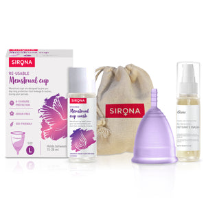 Sirona Pro Reusable Menstrual Cup with Pouch, Mini Intimate Wash & Cup Wash