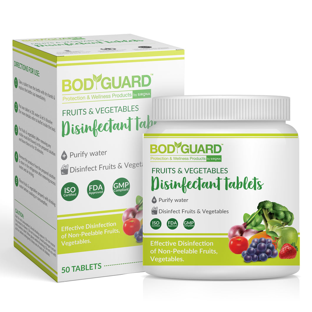 BodyGuard Fruits and Vegetables Disinfectant Tablets - 50 Tablets - Pee Buddy