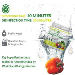 Bodyguard Disinfectant Fruits & Vegetable Tablets (50 Tablets - 1 Unit), Disinfectant Spray 300 ml (2 Units) & Sanitising Wet wipes 30 Wipes (2 Units) - Pee Buddy