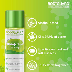 BodyGuard Disinfectant Spray 300ml, N95 Mask Medium - 1 Unit, Lemon Hand Sanitizer - 500ml & Fabric Mosquito Repellent Roll On - 10 ml Combo