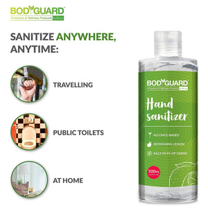 BodyGuard Disinfectant Spray 300ml , N95 Mask Medium - 1 Unit & Lemon Hand Sanitizer - 500ml Combo - Pee Buddy