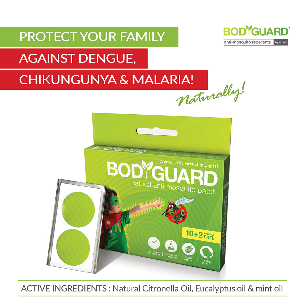BodyGuard Natural Mosquito Repellent Patches - 12 Patches - Pee Buddy