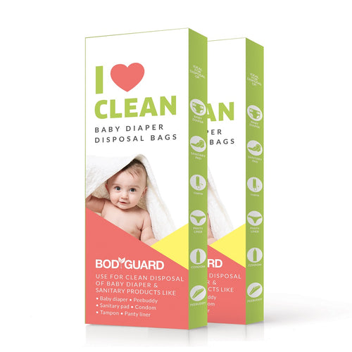 BodyGuard - Baby Diapers & Sanitary Disposal Bag - 30 Bags (2 Pack - 15 Bags Each) - Pee Buddy
