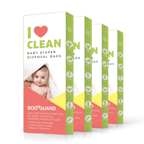 BodyGuard - Baby Diapers & Sanitary Disposal Bag - 60 Bags (4 Pack - 15 Bags Each) - Pee Buddy