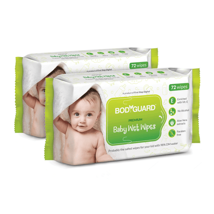 BodyGuard Premium Paraben Free Baby Wet Wipes with Aloe Vera - 144 Wipes (2 Pack, 72 each)