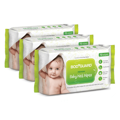 BodyGuard Premium Paraben Free Baby Wet Wipes with Aloe Vera - 216 Wipes (3 Pack, 72 each) - Pee Buddy