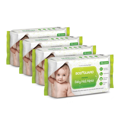 BodyGuard Premium Paraben Free Baby Wet Wipes with Aloe Vera - 288 Wipes (4 Pack, 72 each) - Pee Buddy