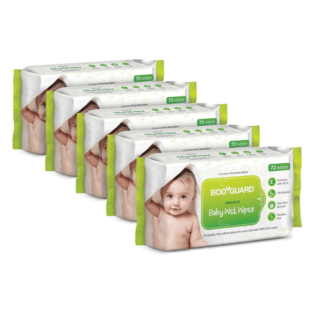 BodyGuard Premium Paraben Free Baby Wet Wipes with Aloe Vera - 360 Wipes (5 Pack, 72 each) - Pee Buddy
