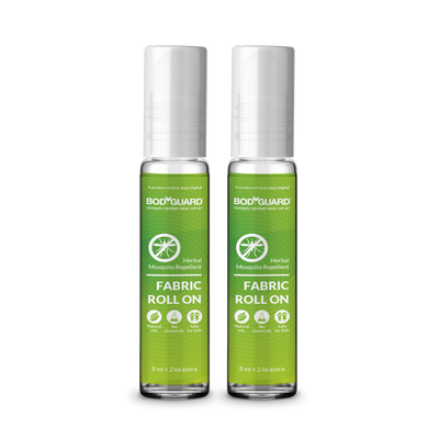 BodyGuard Herbal Fabric Roll On with Citronella & Lemongrass Oil - 8 ml + 2 ml Extra (Pack of 2)