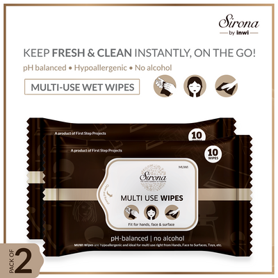 Sirona Multi Use Wet Wipes - 20 Wipes (2 Pack - 10 Wipes Each) - Pee Buddy