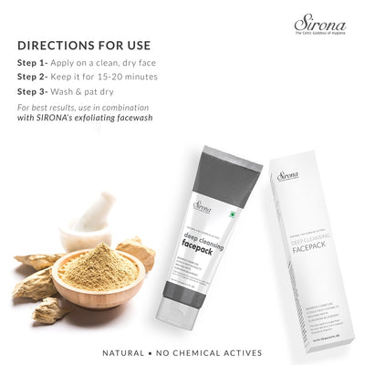 Sirona Natural Activated Bamboo Charcoal Deep Cleansing Face Pack With 5 Magical Herbs - Helps In Detoxifying, Deep Cleansing & Acne Control - 125 Gm