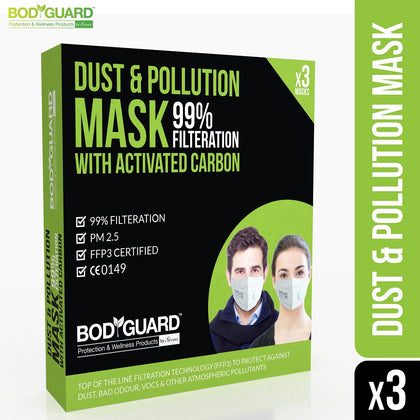 BodyGuard Dispoasable Anti Dust & Pollution Face Mask, N99 +PM2.5 (Pack of 3) - Pee Buddy