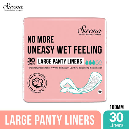 SIRONA Ultra-Thin Premium Panty Liners (Regular Flow) – 30 Counts - Large