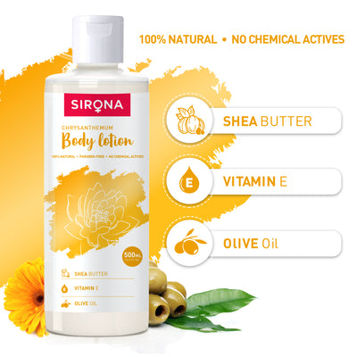 Sirona Natural Chrysanthemum Body Lotion with Shea Butter, Vitamin E and Olive Oil - 500 ml
