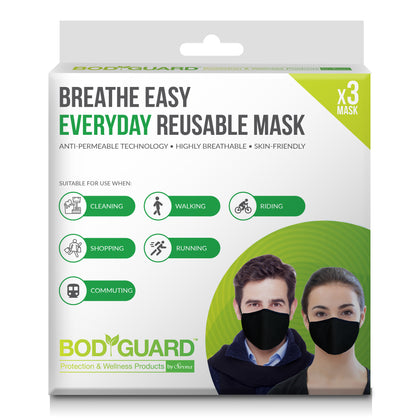 BodyGuard Breathe Easy Everyday Reusable Anti Pollution Mask - 3 Unit