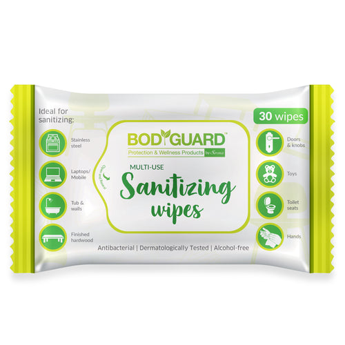 BodyGuard Anti Bacterial Disinfectant Sanitizing Wipes, Alcohol-Free - 30 Wipes - Pee Buddy