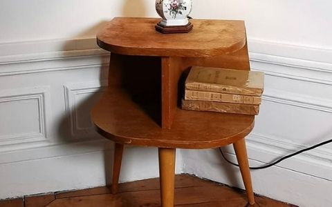 table de chevet en bois vintage