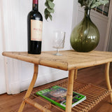 Table basse rotin et bambou vintage