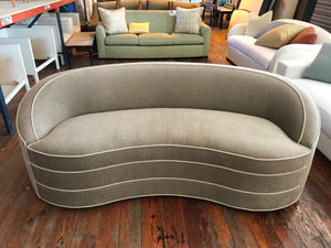 Traditional Curved Sofa With Piping Details