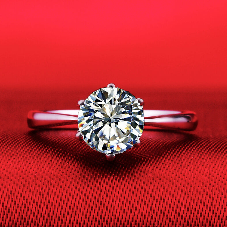 b48de02f6 1 carat SONA synthetic diamond fashion ring 925 sterling silver classic  simulation ring PT950 stamp US size from 4 to 10.5 (DFE)