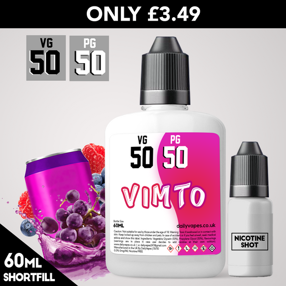 Vimto 50/50 Eliquid - Dailyvapes.co.uk