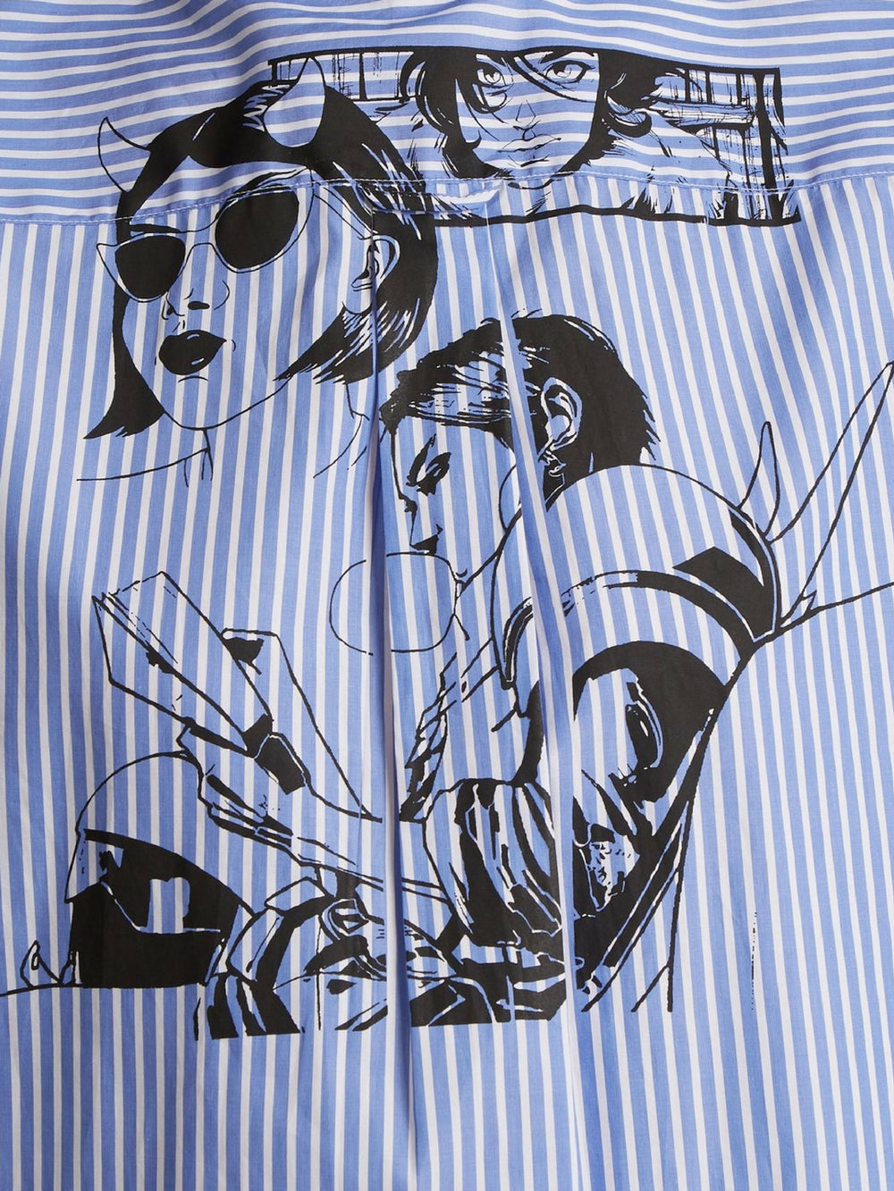 prada-comic-print-striped-cotton-poplin-shirt