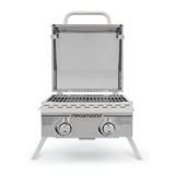 2 Burner Propane Gas Tabletop Grill in Stainless Steel