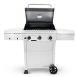 3 Burner Propane Gas Grill in Stainless Steel open