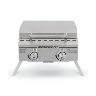 2 Burner Propane Gas Tabletop Grill in Stainless Steel closed