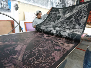 Making of: A Night At The Malecon, woodcut, 2017