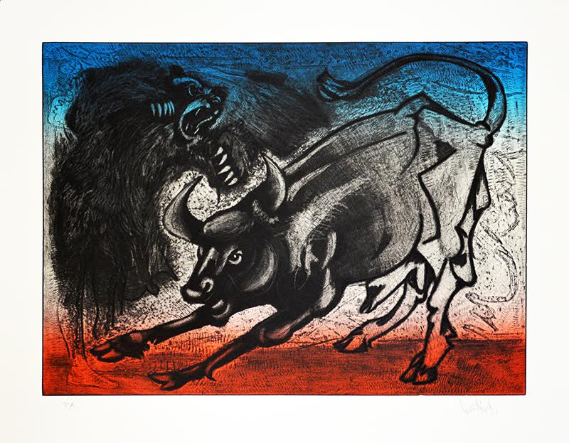 Luis Miguel Valdés, Bull and Bear, Etching