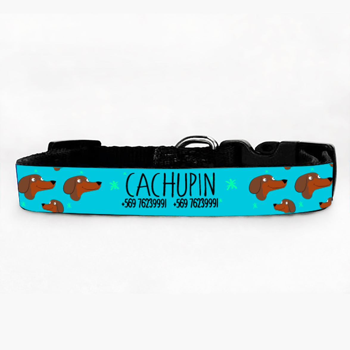 Collar PetLover - Salchicha Grabado 2 cafe calipso