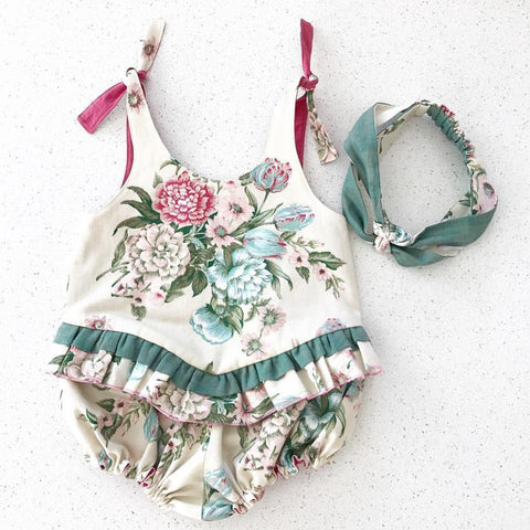 Garden Floral Romper and Matching Headband