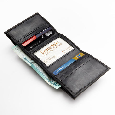 Edwin Trifold Recycled Leather Wallet, Black