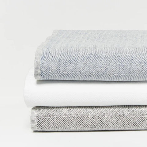 Catalina Organic Cotton and Linen Towel 6 Piece Set, Alpine White