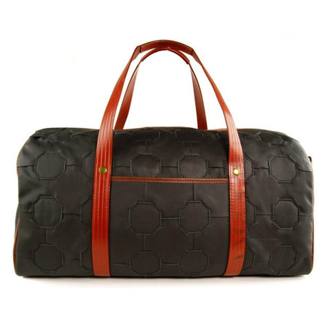 "Elvis & Kresse ""Fire & Hide"" Reclaimed Fire Hose and Leather Duffel Bag 