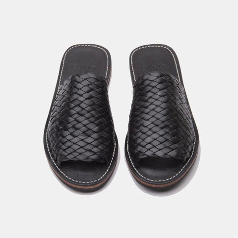 Laura Woven Leather Slippers, Black