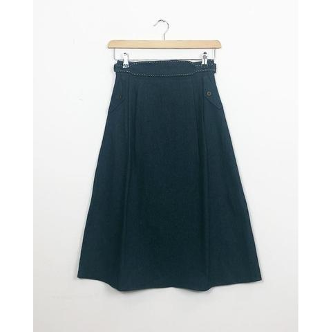 Denim Belted Midi Skirt