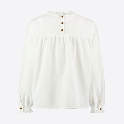 White Smocked Ruffle Blouse - BuyMeOnce Direct - BuyMeOnce UK