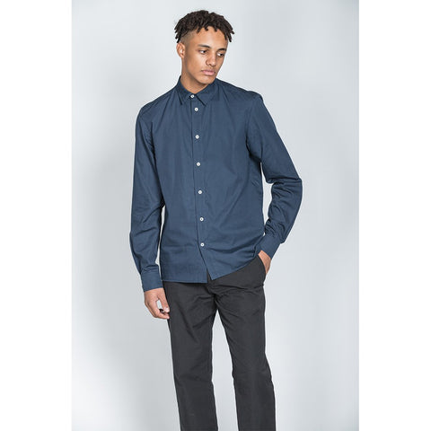 Navy Cotton Long Sleeve Shirt