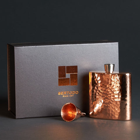 Square Copper Hip Flask