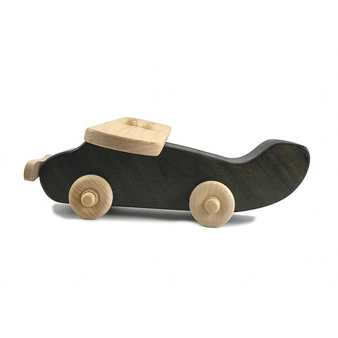 Wooden Airplane Push Toy, Black