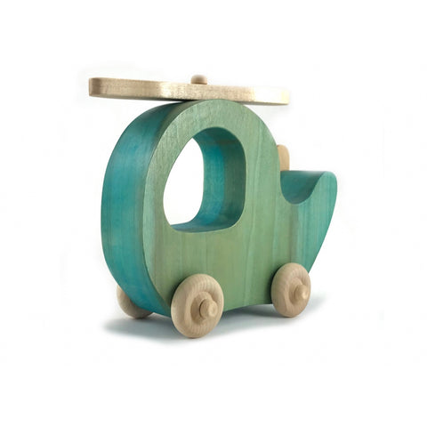 Wooden Helicopter Push Toy, Blue