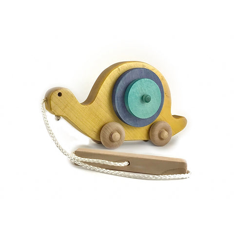 Multi-colored Wooden Snail Pull Toy