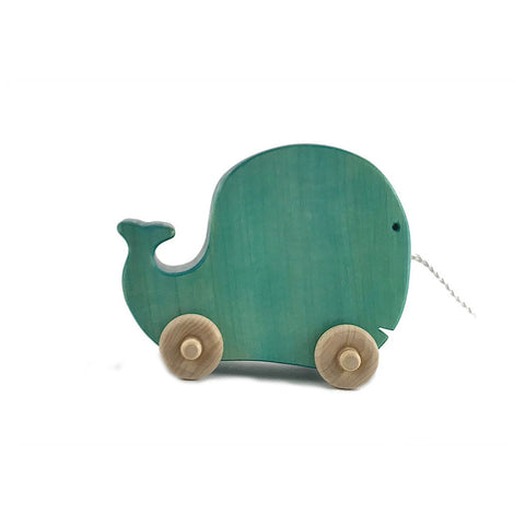 Wooden Whale Pull Toy, Blue